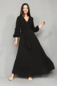 Siyah Kolları Büzgülü Uzun Büyük Beden Şifon Elbise