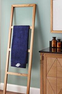 Lacivert Mercan Nakışlı Banyo Havlusu 90x150