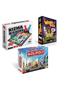 Molipoly Emlak Ticaret Oyunu + Kızma Birader+ Word To Go Xl Tabu Xl Edition 3'lü Süper Set
