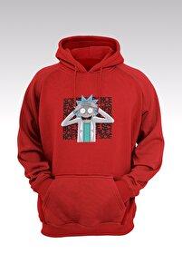 Rick And Morty 145 Kırmızı Kapşonlu Sweatshirt - Hoodie