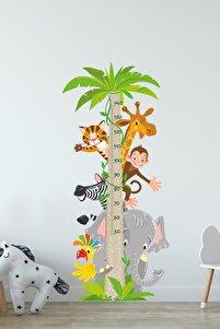 Sevimli Hayvanlar Temalı Boy Ölçer Duvar Sticker Seti