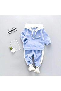 Kapşonlu Açık Mavi Beyaz Bebek Alt Üst Takım