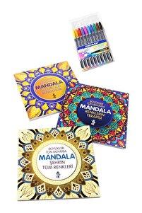 Mandala Büyükler Için Boyama Seti - 3 Kitap Ve 10'lu Kalem