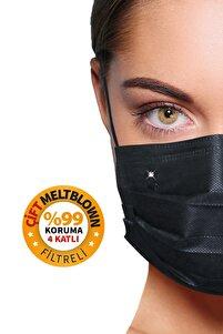 Diamond Black 4 Katlı Çift Meltblown Filtreli 100 Adet (çiçek Logolu) Kokusuz Yüz Maskesi