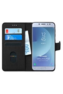 Microsonic Galaxy J7 Pro Kılıf Fabric Book Wallet Siyah