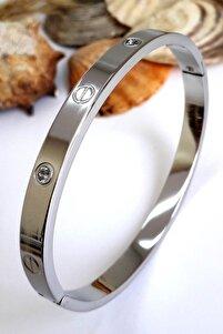 Zirkon Taşlı Paslanmaz Çelik Cartier Bileklik Bilezik 18 Cm