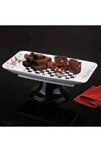 Damalı Sunum Ayaklı Çikolata Tabağı
