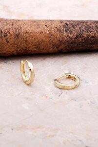 Altın Yaldızlı Gümüş 12 Mm Halka Küpe 5144