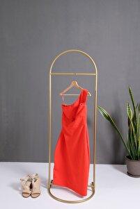 Butik Stil Oval Konfeksiyon Askılığı Altın Renk Askılık Gold Dilsiz Uşak