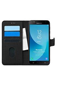 Microsonic Galaxy J7 Core Kılıf Fabric Book Wallet Siyah