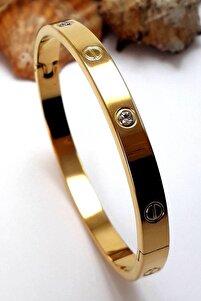 Kadın Altın Renkli Zirkon Taşlı Paslanmaz Çelik Bilezik 18 cm