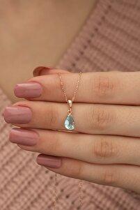 925 Ayar Damla Aquamarin Taşlı Kadın Gümüş Kolye