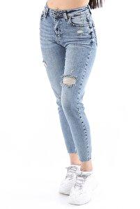 Kadın Yırtık Yamalı Yüksel Bel Likralı Kesik Paça Açık Mavi Jean Pantolon