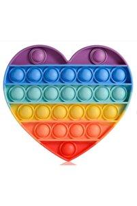 Özel Popit Duyusal Oyuncak Zihinsel Stres Kalp Oyuncak ( Gökkuşağı Rainbow )