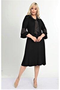 Kadın Siyah Kravatlı Beyaz Puantiye Detaylı Büyük Beden Elbise