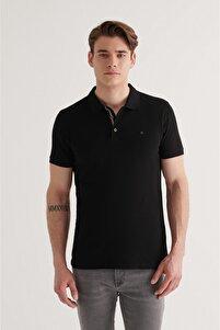 Erkek Siyah Polo Yaka Düz T-shirt A11b1174