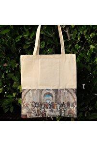 Unisex Byaz Kanvas Bez Çanta  Dokuma Kumaş Desenli Iç Cepli Ve Cırtlı  36 X 40 cm  Raphaello