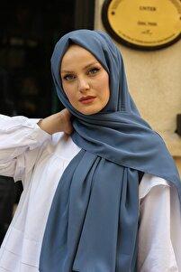 Kadın Pastel İndigo Medine İpeği Şal