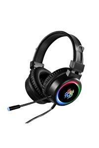Yoro V5 Profesyonel Oyuncu Kulaklığı Rgb Kablolu Işıklı Mikrofonlu Kulaklık Usbli+3.5 Mm Jack