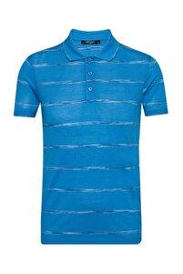 Erkek Mavi Slim Fit Polo Yaka Tişört