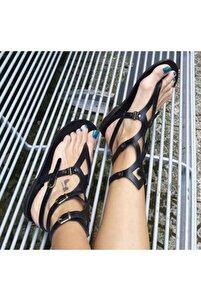 Hakiki Deri Siyah Gladyatör Kadın Sandalet