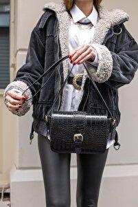 Aynı Butikte 2. Ürün 1 TL Siyah Kroko Kadın Kemerli Kapaklı Omuz Çantası