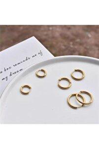 Kadın Gold Renk Cerrahi Çelik 3lü Set Halka Küpe