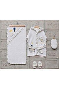 Balina Erkek Bebek Bornoz Seti - Beyaz