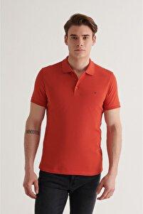 Erkek Kiremit Polo Yaka Düz T-shirt E001004