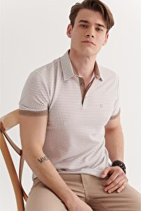Erkek Vizon Polo Yaka Double Kol Baskılı T-shirt A11y1137