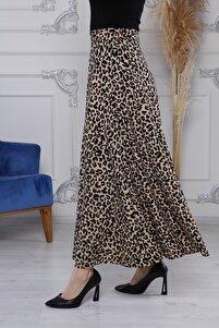 Kadın Leopar Örme Uzun Etek Beli Lastikli