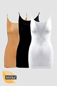 3 ' Lü Kadın Ip Askılı Modal Pamuklu Siyah Beyaz Ten Uzun Atlet