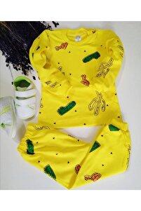 Kaktüs Baskılı Pijama Takımı Sarı (1-3 Yaş)