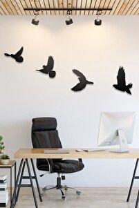 Dekoratif Modern Dörtlü Kuş Duvar Süsü Duvar Dekoru 4 Adet
