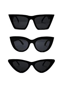 3'lü Fırsat Seti Cat Eye Güneş Gözlüğü Kadın