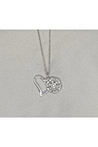 Kadın Kartanesi Figürlü Kalpli Gümüşı Kolye