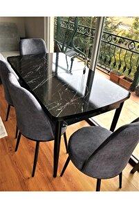 Açılabilir Yemek Masası Takımı Siyah Mermer Desen Masa 4 Adet Sandalye