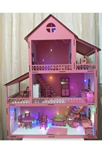 Led Işıklı Ahşap Oyun Evi Büyük Boy (76cm X 57cm X 25cm)
