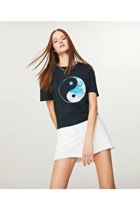 Grafik Baskılı Crop T-shirt