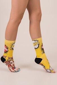 Pop Art Baskılı Soket Çorap
