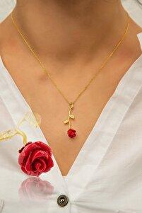 Kadın Altın Tamamı Saf 925 Ayar Gümüş Kaplama Kırmızı Gül Kolye