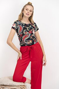 Kadın Red Paisley Siyah Homewear Kapri Takım