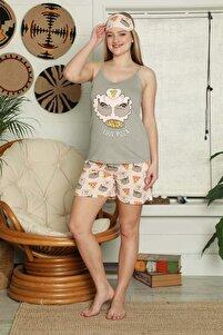 Kadın Gri İp Askılı Şortlu Pijama Takımı