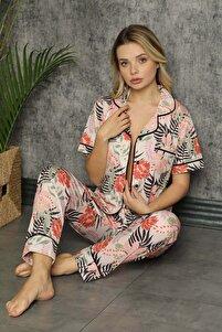 Kadın Ekru Çiçek Desen Düğmeli Kısa Kol Pijama Takımı