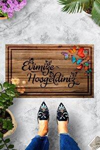 Pienso Home Evimize Hoşgeldiniz Tahta Desenli Kapı Önü Paspası