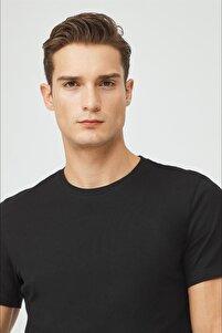 Erkek Siyah Bisiklet Yaka Düz T-shirt E001000
