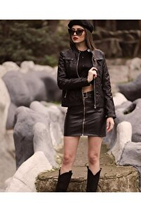 Kadın Siyah Belden Oturtmalı Süs Kapak Detaylı Suni Deri Basic Ceket