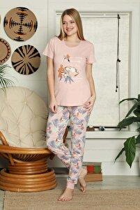 Kadın Pudra Kısa Kollu Kuğulu Pijama Takımı