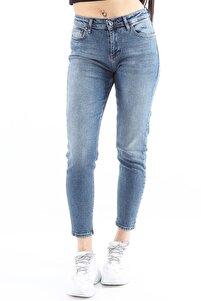 Kadın Denim Slim Fit Koyu Mavi Pantolon