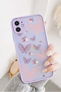 iPhone 11 Uyumlu Lila Hux Butterfly Kelebek Tasarımlı Telefon Kılıfı